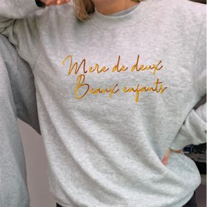 'Mother of two' (francais)- Superior quality Gold printed O'l Faithful grey Unisex Sweatshirt exclusive to Hokey Cokey Productions including Free Delivery-0