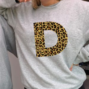 Fantastic Leopard Print Personalised Initial Heavyweight Grey Sweatshirt including FREE DELIVERY-0