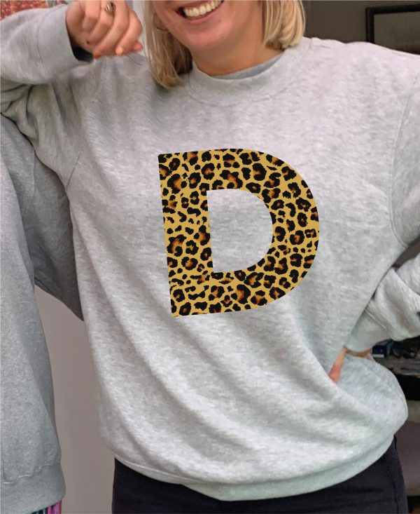 Fantastic Leopard Print Personalised Initial Heavyweight Grey Sweatshirt including FREE DELIVERY