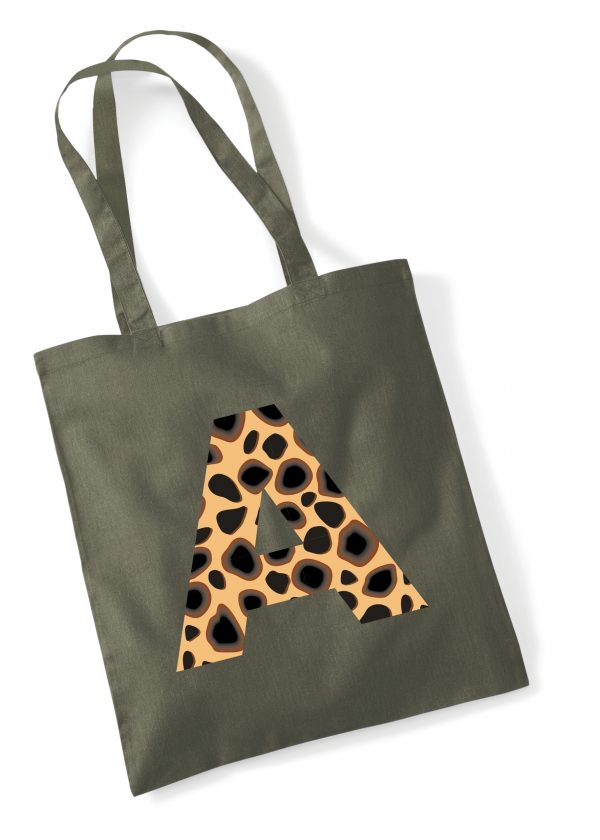 Beautiful Cotton Tote Bag for Life with leopard print Initial. Available in x11 fantastic colours.Inc Free Delivery