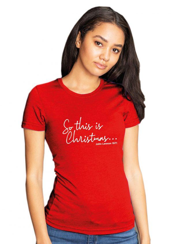 So This is Christmas (John Lennon) – Christmas Womens T Shirt
