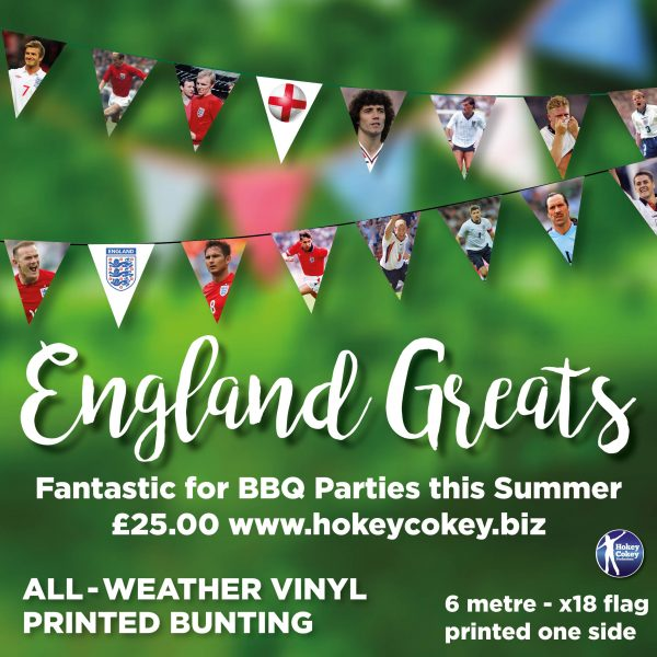 England Football Greats. All-Weather Garden Bunting